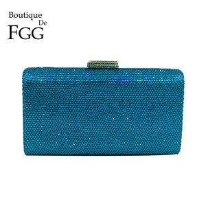 Image 1 - Boutique De FGG Turquoise Blue Women Crystal Clutch Evening Bags Wedding Rhinestones Handbag and Purse Small Bag For Cell Phone