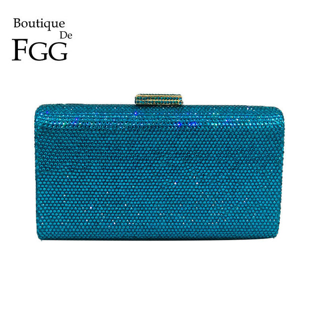 Boutique De FGG Turquoise Blue Women Crystal Clutch Evening Bags Wedding Rhinestones Handbag and Purse Small Bag For Cell Phone