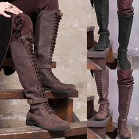 Medieval Men Knight Steampunk Boots Viking Pirate Larp Shoes Hunter Leather Warrior Soldier Carnival Party Stage Cosplay Costume