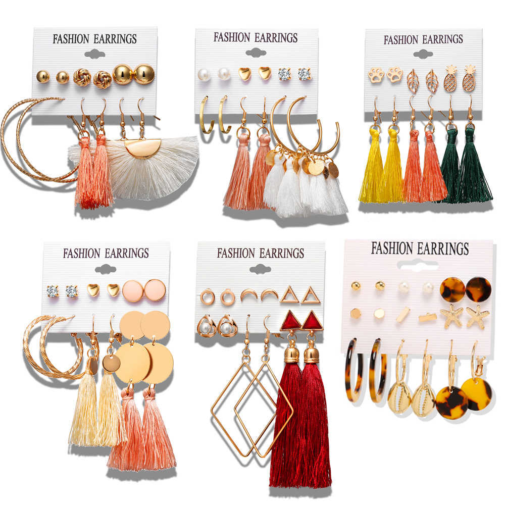 17KM 28 Bohemian Earring Long Tassel Earrings Set For Women Girl Boho Geometric Drop Earring 2019 Brincos Female Fashion Jewelry