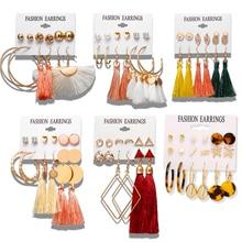 17KM 28 pendientes bohemios de borla larga conjunto de pendientes para mujer chica Boho geométrico gota pendiente 2019 Brincos moda femenina joyería