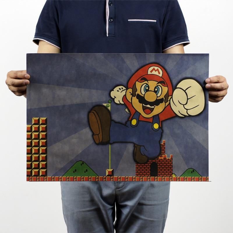 Super Mario Classic Games  Vintage Kraft Paper Classic Movie Poster Home Decor Garage Wall Decor Art  Retro School Prints