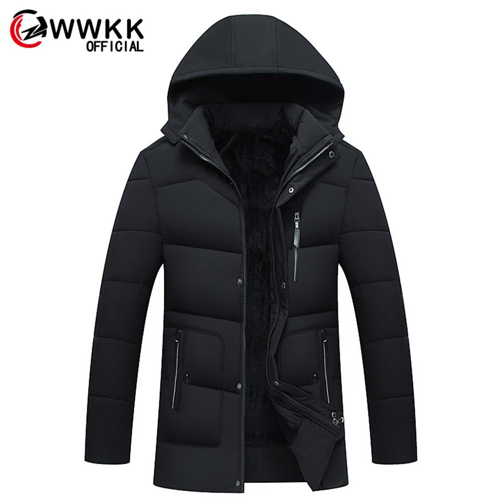 WWKK мужская длинная Водонепроницаемая бархатная хлопковая куртка с защитой от холода, теплая куртка с капюшоном для путешествий