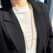 Gold Simple Geometric Clavicle Sweater Chain for Men and Women Necklace Party Banquet Jewelry Making Style Metal Punk New Trendy punk style multilayered paw skull sweater chain for women