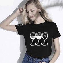 Impressão do copo de vinho das mulheres da forma do verão t camisas gráficas t streetwear gótico harajuku tumblr camisetas femininas