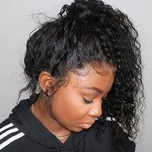 Волосы ELVA кудрявые 360 парик шнурка спереди al бразильские волосы remy с волосами младенца предварительно сорвал кружева передние человеческие волосы парики для черных женщин