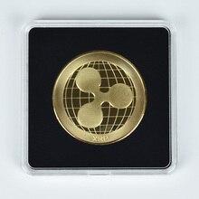 Позолоченные монеты пульсация ксрп металлические монеты криптовалюта Коллекция подарков с Отделом для монет цвета Дисплей чехол