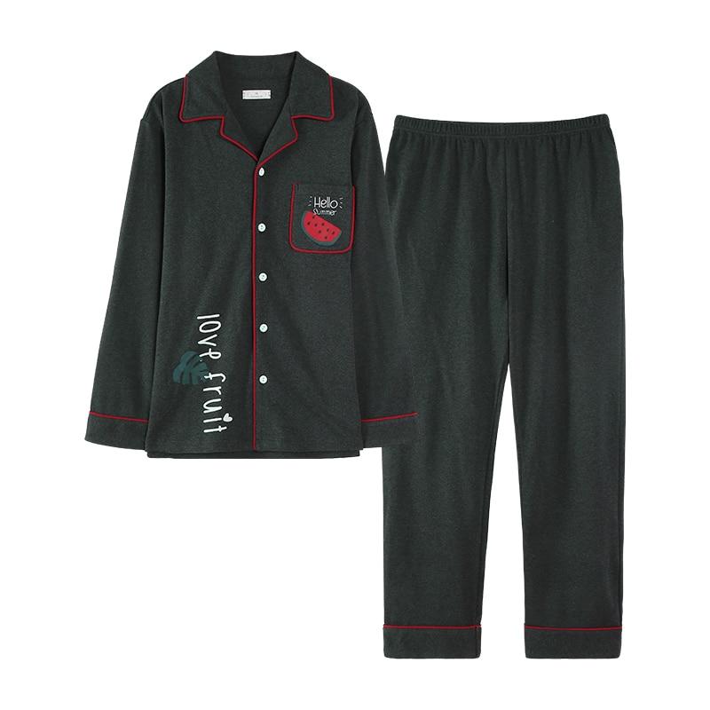 Casual Style Dark Green Spring Long Sleeve Long Pants Buttons Watermelon Printing Sleepwear Men Homesuit Homeclothes Pyjamas Men