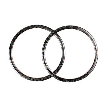 2Pcs Carbon Fiber Door Audio Speaker Covers Trim Loudspeaker Decorative Circle Rings For BMW 3 Series E90 X1 E84 2008-12 image