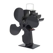 4 Blades Heat Powered Eco Stove Fan(Black) 16% Cost Saving Circulating for Wood/log burner/fireplace Efficient Distribution