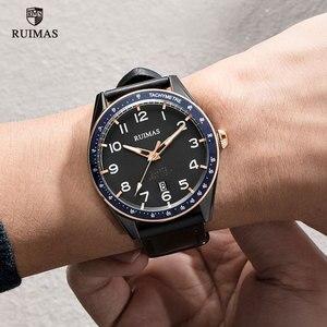 Image 4 - Мужские наручные часы RUIMAS, Роскошные Кварцевые часы с кожаным ремешком, спортивные наручные часы в стиле милитари, модель 573