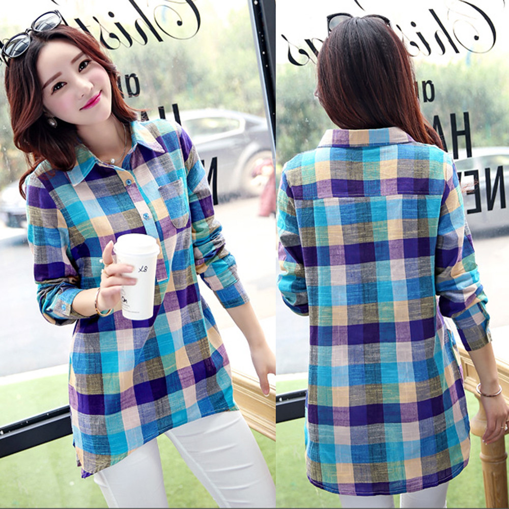 YUKINO Women Blouse Casual Matching Color Long Sleeve Button Loose Plaid Shirt Blouse Top Woman Summer 2019 Female Blusas