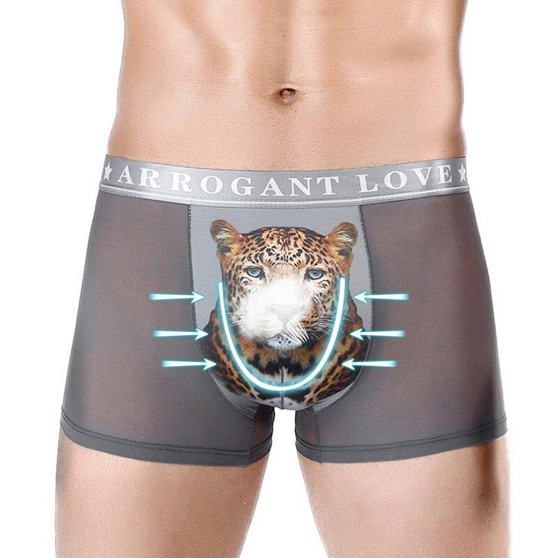 MoneRffi Interior Boxer Hombre Sexy Gay Men Briefs Mesh Silk Animal Jockstrap Hole Underwear Underpants Breathable Plus Shorts