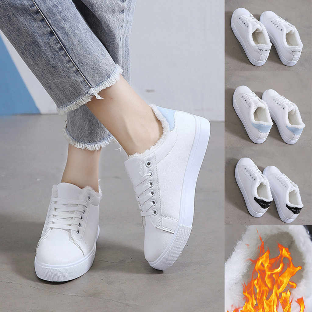 2019 Winter Vrouwen Wit Sneakers Dames Fashion Casual Lace Up Warm Sport Loopschoenen Vrouw Sneakers 2019 Herfst- winter