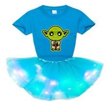 Одежда для девочек комплект детской одежды модное светодиодное