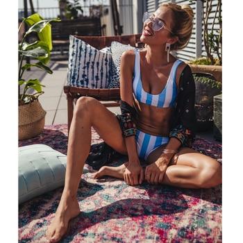 Women's Swimming Suit 2020 Sexy Brazilian Bikini Swimsuit Swimwear Women Striped Bikini Set Bandage Biquinis Beach Bathing Suit sexy vintage bikini set halter neck spliced lace women swimsuit female beach retro swimwear bathing suit biquinis black white