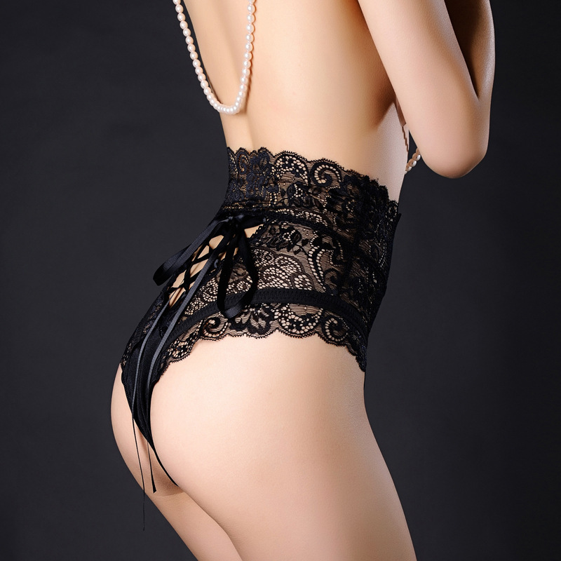 Sexy Panties Women High Waist Lace Thongs G Strings Underwear Ladies Hollow Out Underpants Imitation Lingerie Female