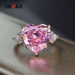 OEVAS Solid 925 Sterling Silver 12*12mm Pink Heart High Carbon Diamond Wedding Rings For Wimen Sparkling Bridal Fine Jewelry