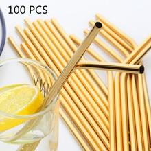 100Pcs/Set Metal Straw Reusable Gold Straws Wholesale Stainless Steel Drinking Tubes