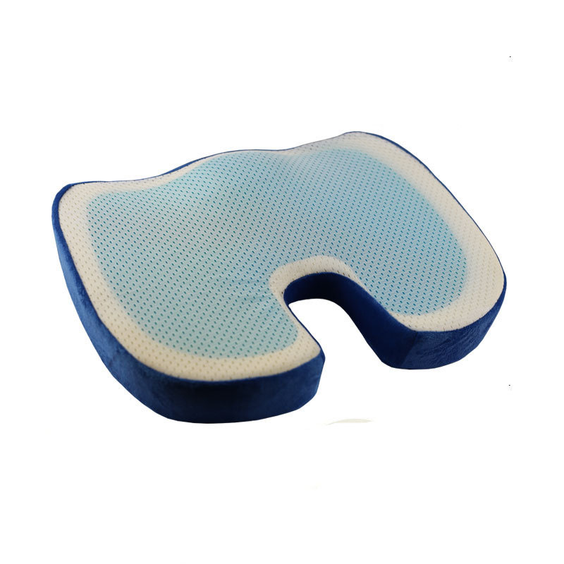U Shaped Summer Cool Fabric Memory Foam Seat Cushion for Car Back Support Sciatica Tailbone Relief Pillow Office Coccyx