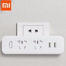 Xiaomi Mijia Power Strip Converter Portable Plug Travel Adapter for Home Office 5V 2.1A 2 Sockets 2 USB Fast Charging H20 original xiaomi mijia mi smart power strip 2a fast charging 3 usb extension socket plug 6 standard sockets