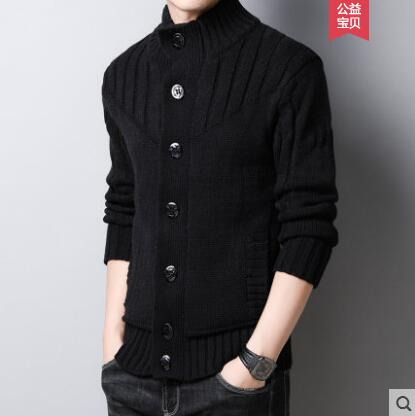Autumn And Winter Thick Sweater Jacket Men's Knitted Cardigan Trend Korean Youth Handsome Men's Retro Thick Sweater