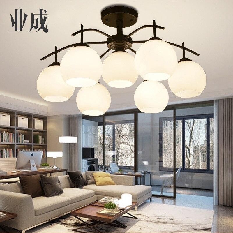 American-Style Modern Minimalist Iron Art Ceiling Lamp Nordic Fashion Living Room Simple European Bedroom Library Restaurant Lam