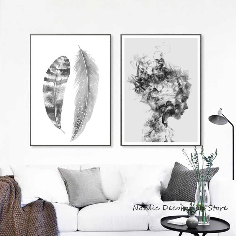 Abstract Art Nordic Poster Black And White Posters And Prints Canvas Painting Feather Wall Pictures For Living Room Unframed