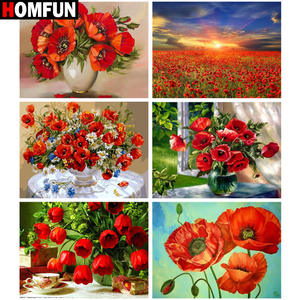 HOMFUN Full SquareRound Drill 5D DIY Diamond Painting poppy flower scenery Embroidery Cross Stitch 5D Home Decor Gift
