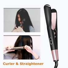 110-220V New 2 in 1 Hair Straightener Hair Curler With Comb Teeth Fast Heating Hair Straightening Curling Flat Iron Styling Tool