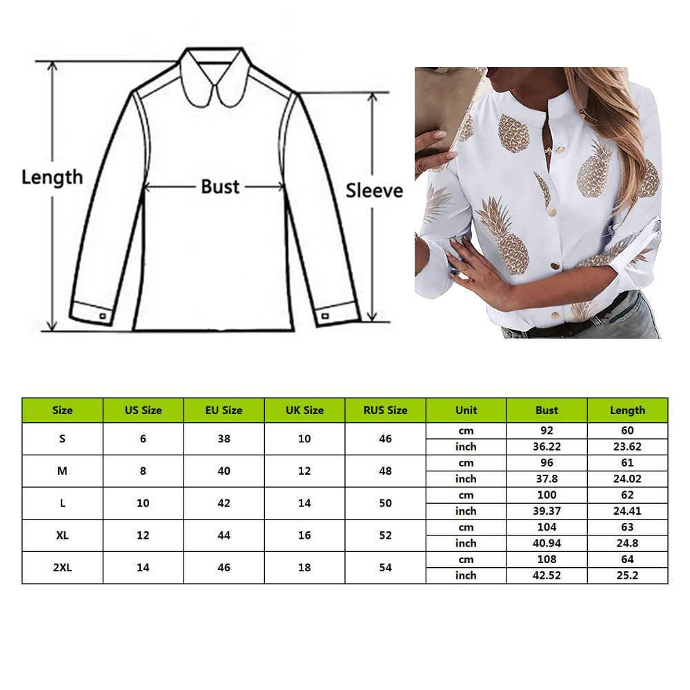 CYSINCOS ananas baskılı kadın bluz 2019 sonbahar beyaz uzun kollu gömlek Casual kadın düğme Tops hırka artı boyutu 2XL