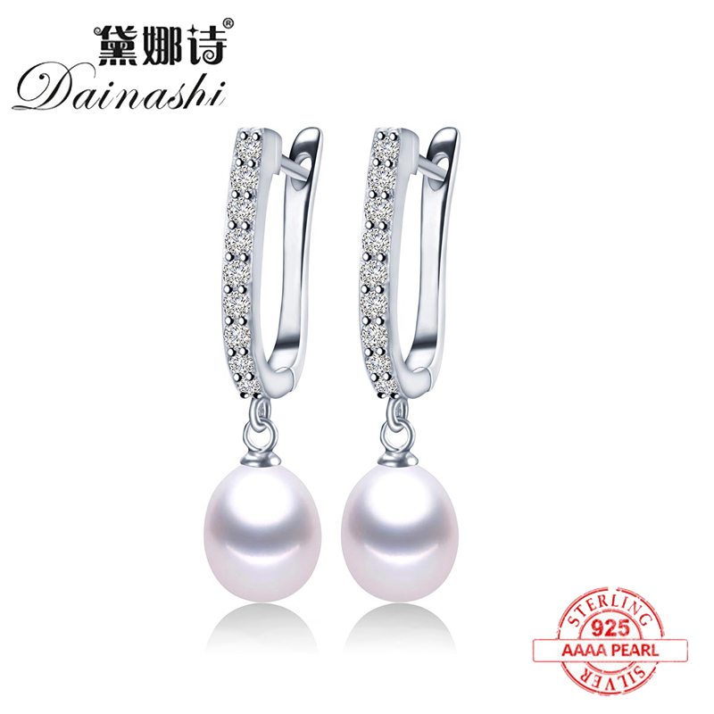 2020 Women Freshwater Pearl Earrings Zircon Fashion 925 Sterling Silver Drop Earring White Real Pearl Wedding Jewelry With Box