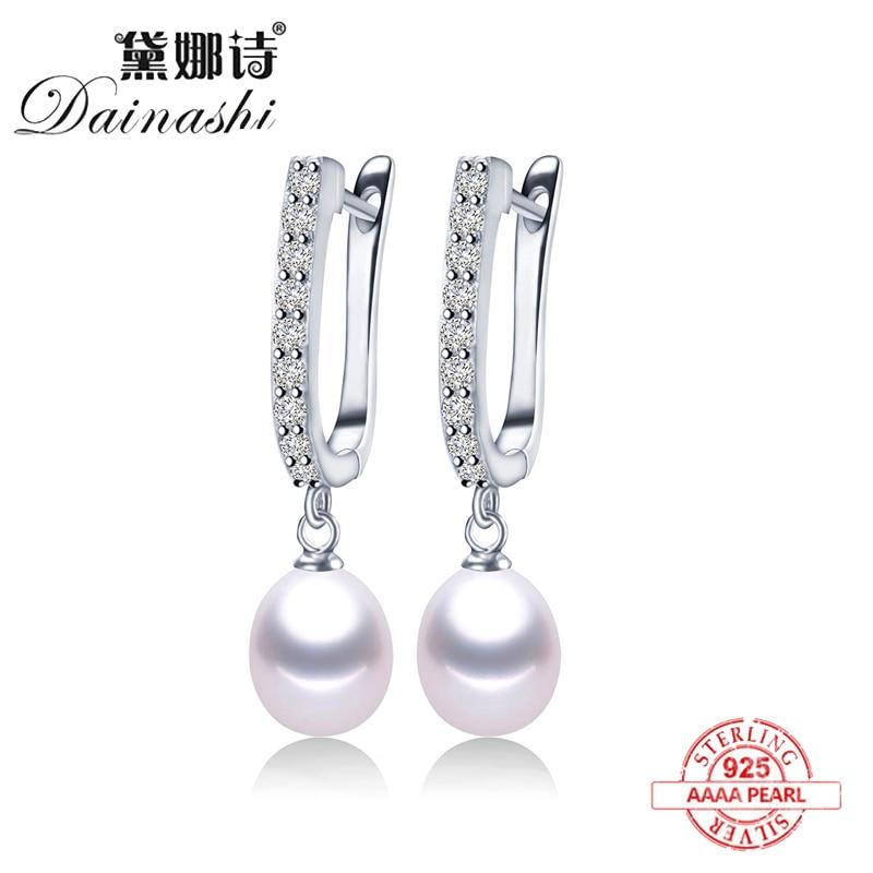 2020 Women Freshwater Pearl Earrings Zircon Fashion 925 Sterling Silver Drop Earring White Real Pearl Wedding Jewelry With Box
