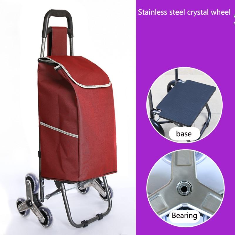 Поднимайтесь вверх, тележка для покупок, большие товары, товары, чехол на колесиках, складная тележка для прицепа, бытовая Портативная сумка для покупок, женская сумка - Цвет: Upgrade style 2