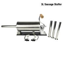 3L yatay sosis Stuffer dolgu paslanmaz çelik ev yapımı masa sosis makinesi mutfak aracı et işlemci