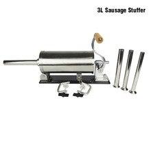 Embutidor de salchichas Horizontal de acero inoxidable, 3L, mesa casera, máquina para hacer salchichas, herramienta de cocina, procesador de carne