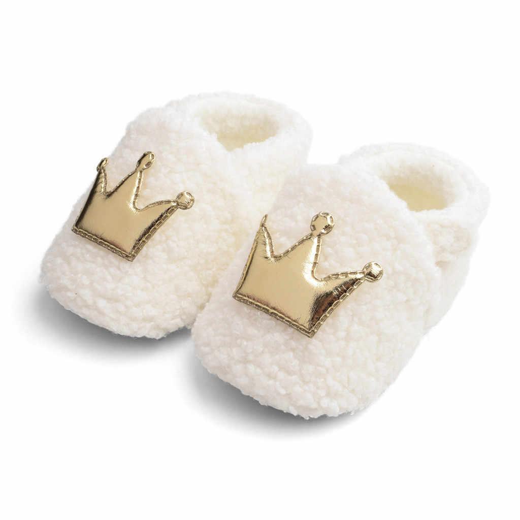 Zapatos para recién nacidos corona de invierno para bebé, zapatos de algodón para bebé, zapatos para caminar, botas de algodón para bebé