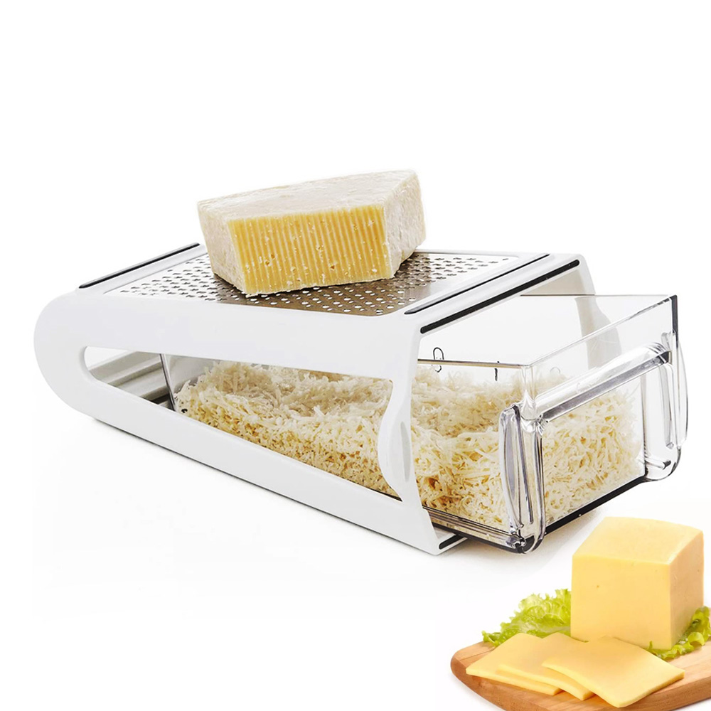 Grater Vegetables Parmesan Slicer Shredder for Cabbage Cheese Cutter Multi Stainless Steel with Container Kitchen Accessories