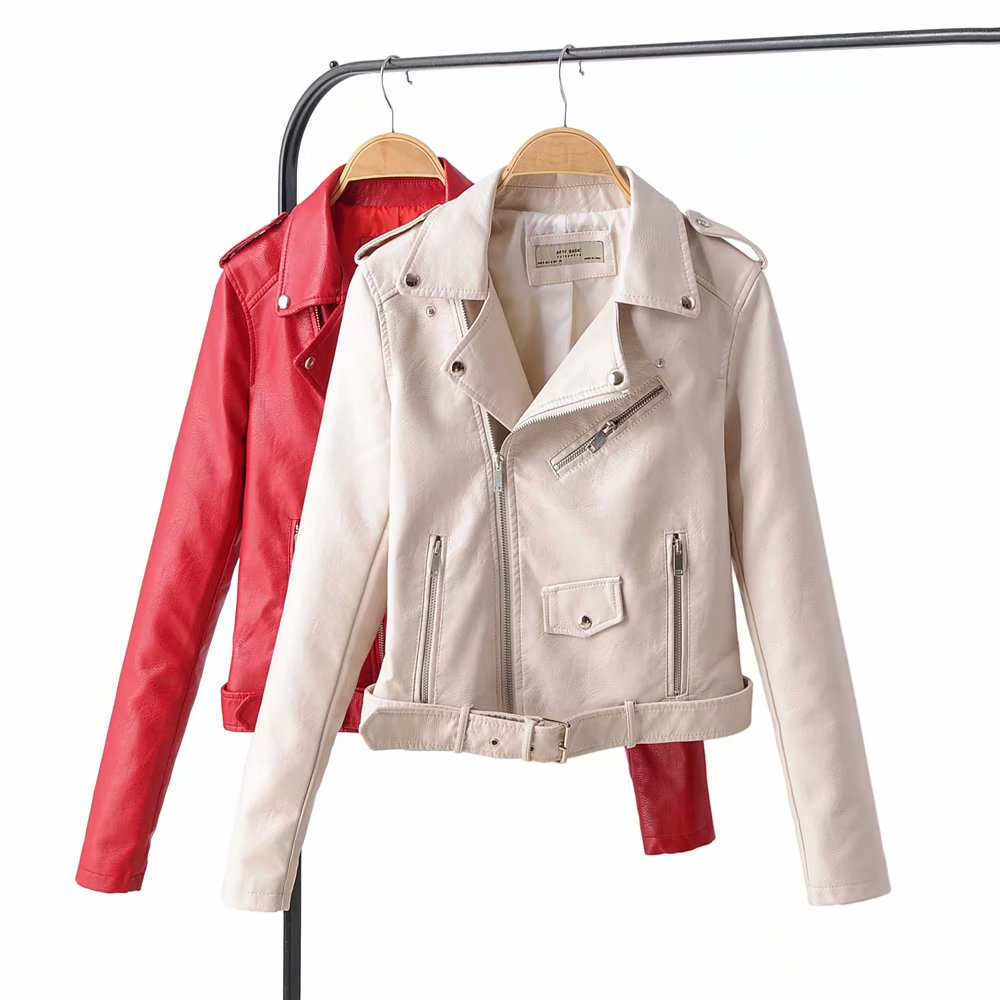 New Arrival 2020 Brand Winter Autumn Motorcycle Leather Jackets RED Leather Jacket Women Leather Coat  Slim PU Jacket Leather