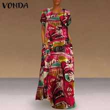 Women'dress vonda 2021 Лето роковой Винтаж печатных вечерние
