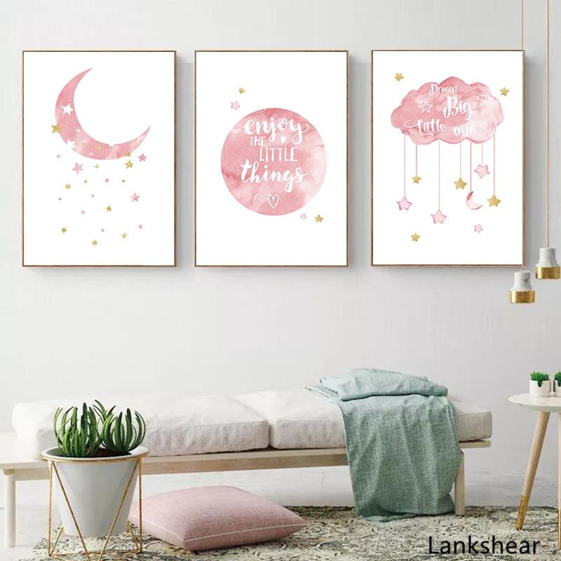 Follow the Full moon Kids Room Art Print Poster A1 A2 A3 A4 A5