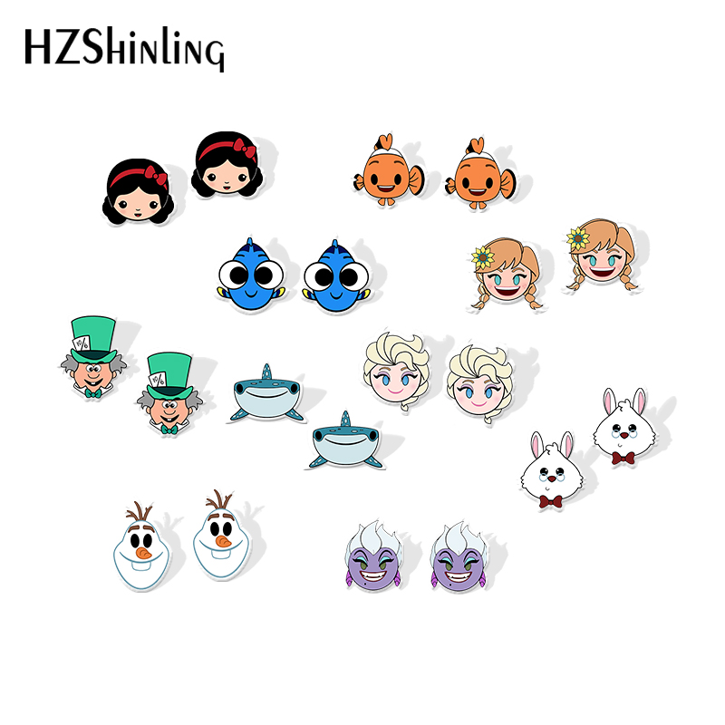 2019 New Funny Face Acrylic Earring Simba Cheshire Cat White Rabbit Alice Silver Color Plated Earrings Epoxy Art Stud Earring