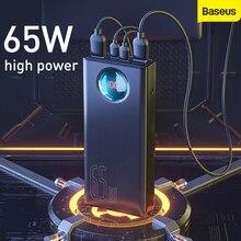 Baseus 65w power bank 30000mah qc3.0 tipo de carga rápida c carga rápida portátil powerbank bateria externa para samsung para huawei