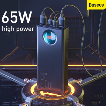 Baseus 65W Power Bank 30000mAh QC3.0 Fast Charge Type C Quick Charge Portable Powerbank External Battery For Samsung For Huawei внешний аккумулятор baseus power bank mulight quick charge 30000mah black ppmy 01