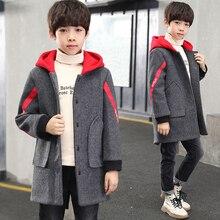 От 5 до 14 лет, зимняя верхняя одежда для маленьких мальчиков, куртка, пальто, осенняя плотная Шерстяная Куртка для мальчиков младенцев, серые куртки, одежда
