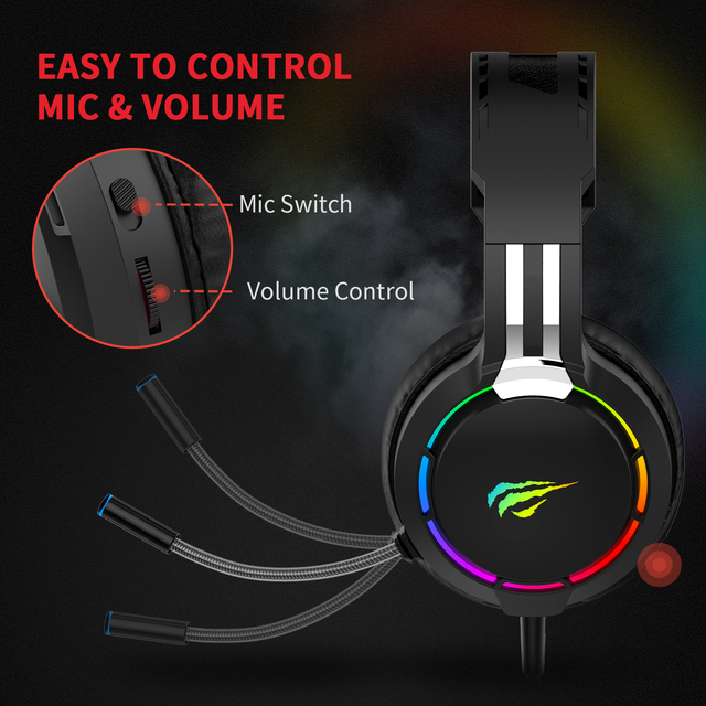 HAVIT Gaming Headset PC USB 3.5mm Wired XBOX / PS4 Headsets with 50MM Driver, Surround Sound & HD Microphone for Computer Laptop 2