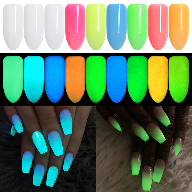 10g Fluorescent Nail Powder Nails Accessories Ultrafine Pigment Dust Glow in Dark Colorful Nail Art Decorations 9 Colors
