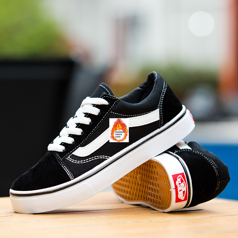 TRILEINO Canvas Shoes Sneakers Skateboarding-Shoes Vulcanized Sk8 Black White CLASSICS title=