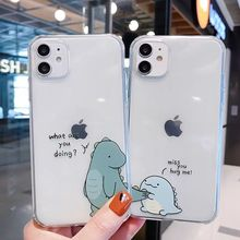 LISM Cute Dinosaur CP Phone Case For IPhone 12 11 Pro Max 6 7 8 Plus X XS XR SE2 Transparent Shockproof Mobile Phone Case  Cover