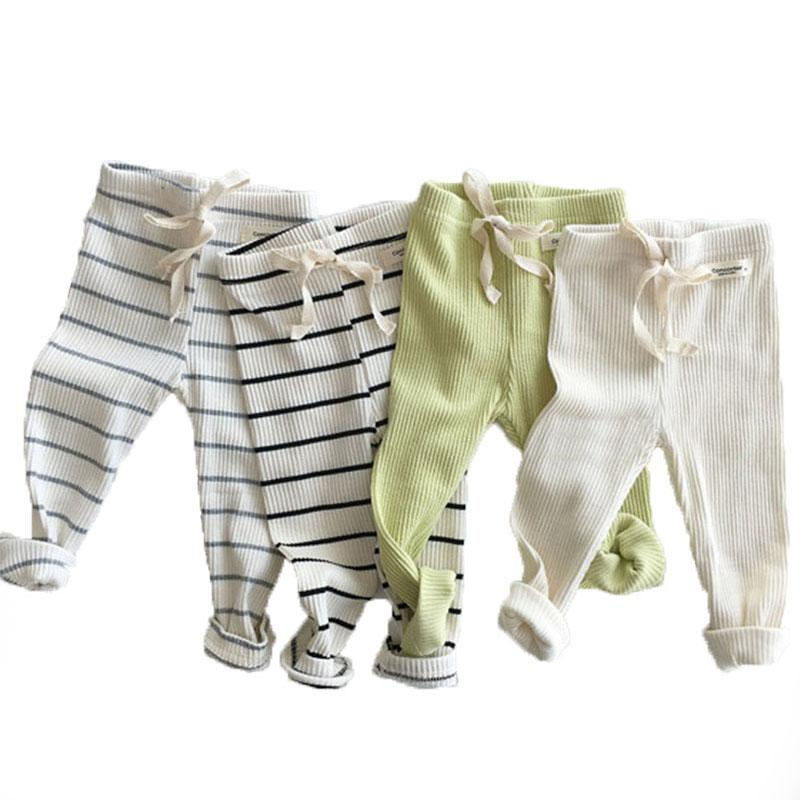 Spring And Autumn New Baby Ribbed Leggings Boys Girls Cotton Big Pp Pants Baby Casual Trousers